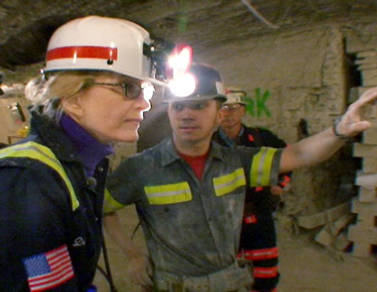 Photo: Jeremy shows Diane Sawyer the work he has to do underground
