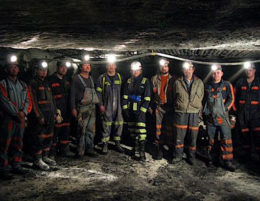 Photo: Diane Sawyer meets up with a group of miners working three-and-a-half miles inside the belly of the mountain.
