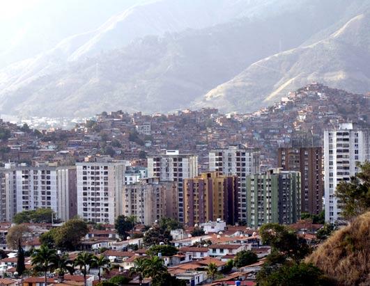 Apartment towers rise above the barrios of Caracas. (Donna Svennevik/ABC)