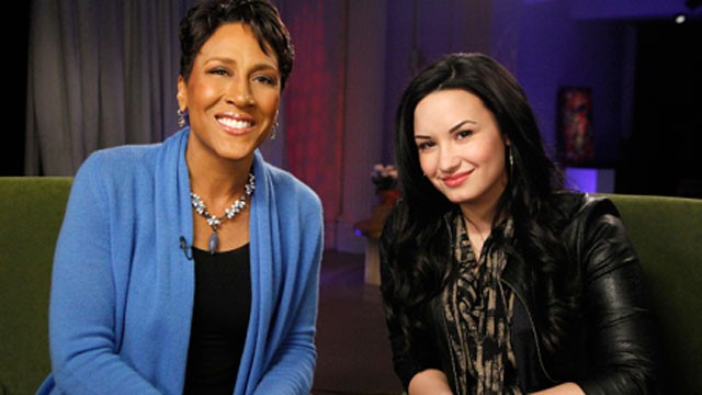 PHOTO: Robin Roberts interviews Demi Lovato about her troubles and recovery.