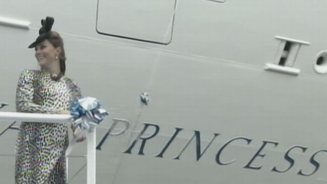 VIDEO: The Duchess of Cambridge made her last public appearance before birthing the royal heir.