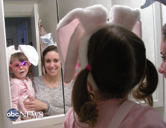 Mother and daughter with bunny ears on Easter in 2008.