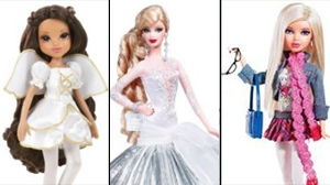PHOTO From left to right: Moxie Girlz, Barbie, and a Liv Doll are shown.