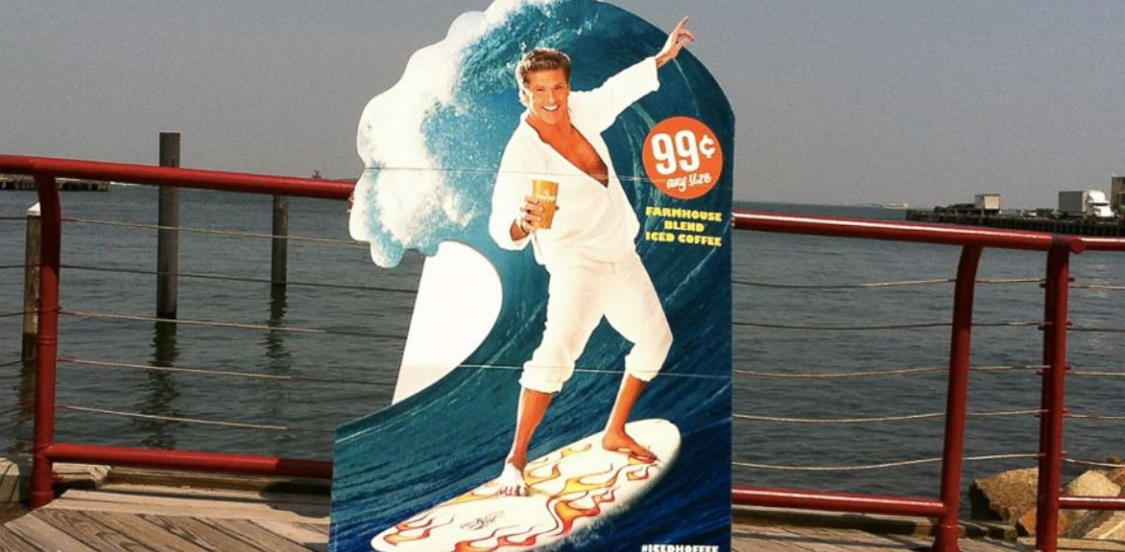 """PHOTO: David Hasselhoff is the face of Cumberland Farms iced coffee drink, cleverly called the """"Iced Hoffee""""."""