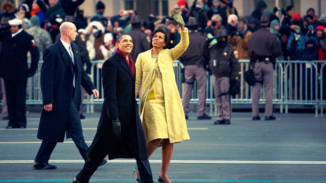 PHOTO: Barack and Michelle Obama at the 2009 Inauguration.