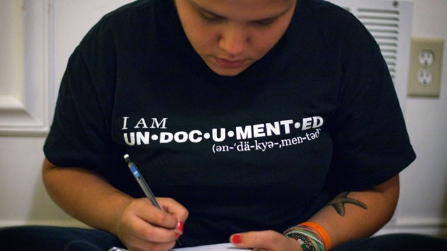 PHOTO:&nbsp;FILE - In this May 31, 2011 file photo, undocumented immigrant Georgina Perez attends a meeting organizing a rally where illegal immigrant high school students plan to tell their stories and &quot;come out of the shadows&quot; in Atlanta.