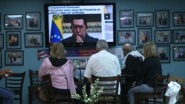 A group of Venezuelans in Doral, Florida, gathered for a vigil at a local restaurant on the day President Hugo Chavez was supposed to be sworn in.