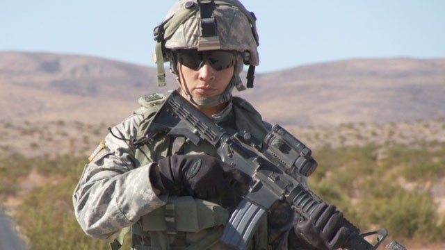 In this Novemeber 2011 photo, Sgt. Scarlett Martinez is training at Fort Irwin's National Training Center in California, before her deployment to Afghanistan.