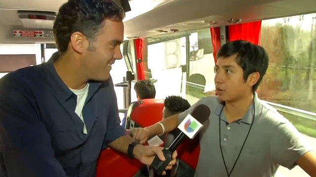 Enrique Acevedo talks to a young Alabama immigrant activist and DREAMer on his way to Washington D.C. for a pro immigration reform rally on Wednesday April 10.