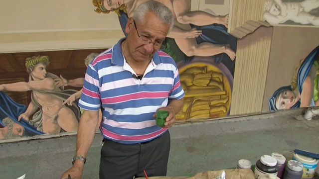 For the past 12 years, and with no funding, Miguel Macias has been replicating Michelangelos Sistine Chapel ceiling paintings at his neighborhood church in Mexico City.