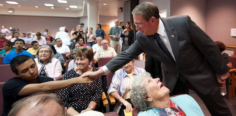PHOTO: Rep. Bob Goodlatte (R-Va.) greets members of the DREAMers movement during a Town Hall Meeting for constituents of the Sixth Congressional District on Monday, August 19, 2013, at the Augusta County Government Center in Verona, Virginia.
