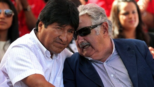 PHOTO: In this photo from Jan. 10, 2013 Bolivian president Evo Morales chats with Pepe Mujica president of Uruguay. Since he became Bolivia´s president in 2006 Morales has championed the decriminalization of the coca leaf.