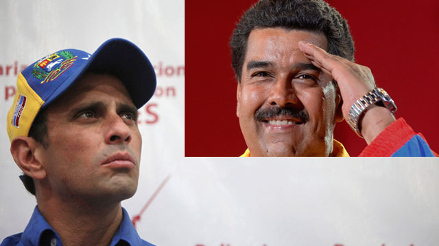 PHOTO: In Venezuelas upcoming presidential election opposition candidate Henrique Capriles (left) is running against interim President, Nicolas Maduro, who was personally for the job by the deceased Hugo Chavez.