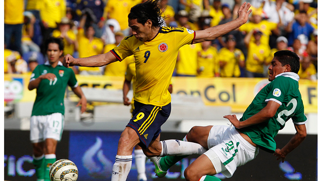 PHOTO: Colombias Radamel Falcao in action during a world cup qualifier match against Bolivia on Friday, March. 22, 2013. On Tuesday, seven more world cup qualifiers will be played in the Americas.