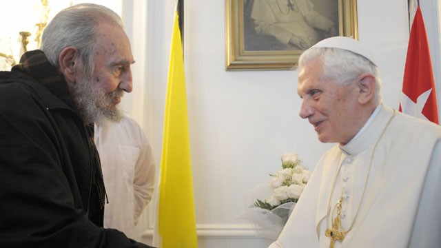 Fidel Castro greets Pope Benedict XVI during the Pope's visit to Cuba. Castro has not been seen in public since greeting Pope Benedict XVI in late March, and the last of his essays known as &quot;Reflections&quot; was published June 19.