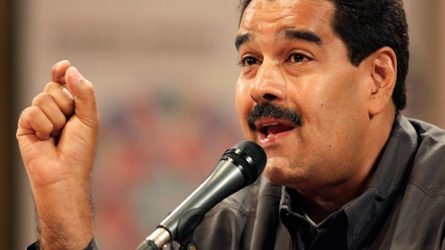 PHOTO: Venezuela's acting President Nicolas Maduro speaks at the opening of the Ninth International Book Fair of Venezuela (Filven) which pays tribute to late President Hugo Chavez at the Teresa Carreno theater in Caracas, Venezuela.