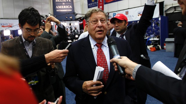 PHOTO:&nbsp;Former New Hampshire Gov. John Sununu speaks to reporters in the spin room on behalf of Mitt Romney after the second presidential debate at Hofstra University, Tuesday, Oct. 16, 2012 Hempstead, N.Y.