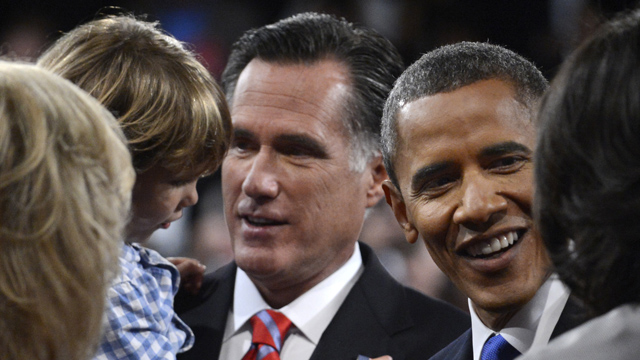 PHOTO:President Barack Obama and Republican presidential nominee Mitt Romney meet family members after the third presidential debate at Lynn University, Monday, Oct. 22, 2012, in Boca Raton, Fla.