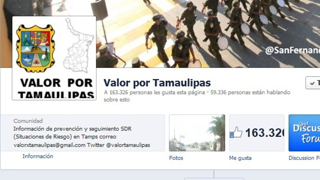 PHOTO: Valor por Tamaulipas, a Facebook page with updates on violent events in the northern Mexican State of Tamaulipas, has picked up 160,000 followers in since it was launched on Jan. 1st, 2013.