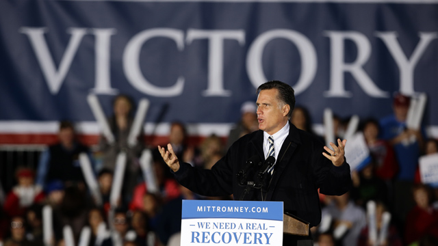 PHOTO: Republican presidential candidate, former Massachusetts Gov. Mitt Romney speaks during a campaign event at Ida Lee Park Wednesday, Oct. 17, 2012, in Leesburg, Va.