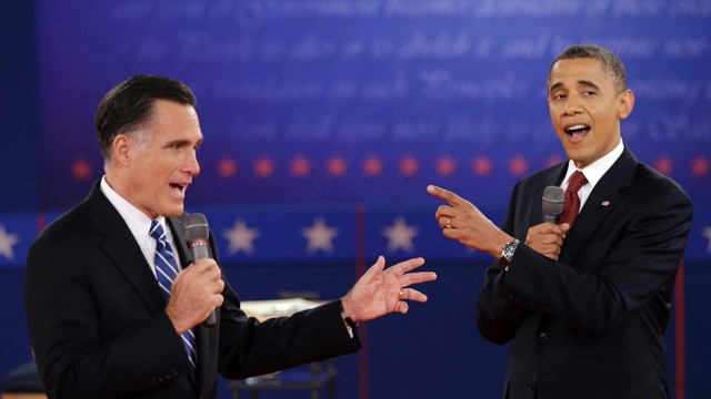 PHOTO: President Barack Obama and Republican presidential candidate, former Massachusetts Gov. Mitt Romney exchange views during the second presidential debate at Hofstra University in Hempstead, N.Y.