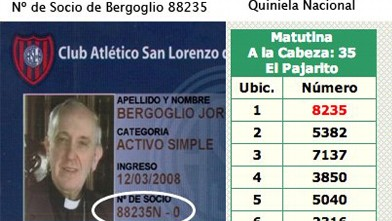 PHOTO: The winning number of Quiniela Argentina on March 13th is the same number as Bergoglio's soccer team card member number.