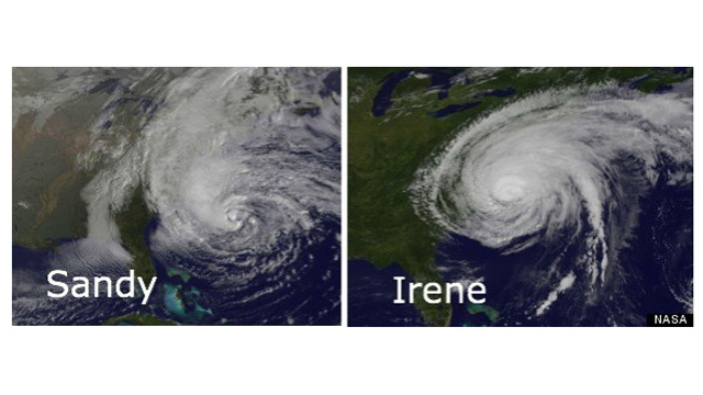 PHOTO: As Sandy approached the East Coast, this  satellite image comparing the storm with 2011 hurricane Irene showed the potential threat Sandy was to all states in its path.