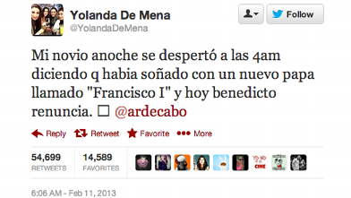 PHOTO: A tweet from February 11th in which someone dreamt the new Pope's name.