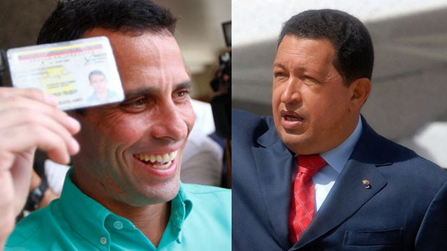 PHOTO:&nbsp;Henrique Capriles (left) is attempting to defeat President Hugo Chavez and stall his plans
