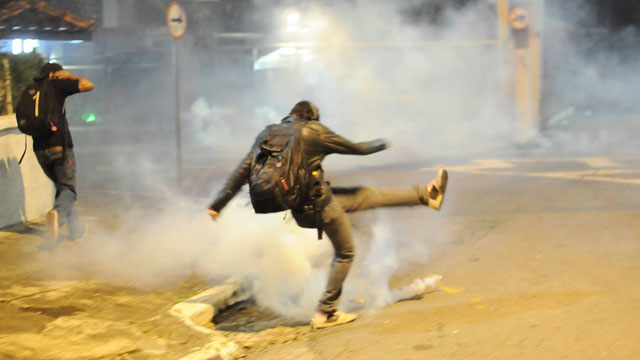 PHOTO: Protests against bus fare increases have become violent in Sao Paulo. Dissatisfaction over bus fares, has sparked several other grievances. This picture is from June 13, 2013.
