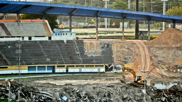 PHOTO: Manaus old stadium the Vivaldao, was demolished in 2010 to make way for a brand new World Cup stadium, called the Arena Amazonia. The new stadium is one of five World Cup venues in Brazil where construction work is behind schedule.
