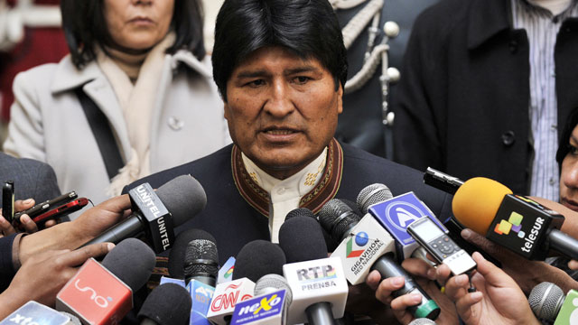 PHOTO: Evo Morales is Bolivias first indigenous president. In this picture he speaks with the press at the Palacio Quemado presidential palace in La Paz, on April 24, 2013.