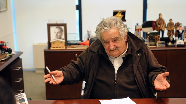 PHOTO: Uruguayan President Jose Mujica at his office in the government house in Montevideo, on September 5, 2012, during an exclusive interview given to AFP.