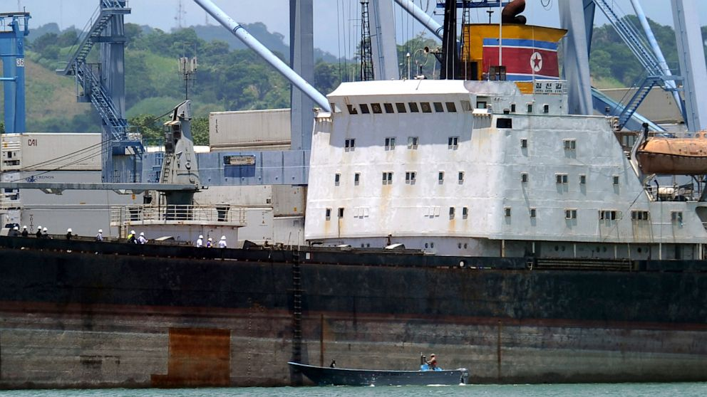 PHOTO: The Chong Chon Gang, a North Korean cargo ship, was detained in Panama on July 10th, as it made its way from Cuba to the Asian country. It carried several weapons and engines for Mig-21 fighter jets.