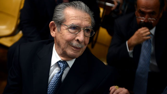PHOTO: Former Guatemalan dictator (1982-1983) Efrain Rios Montt (86), is seen during his trial on charges of genocide committed during his regime, in Guatemala City on May 9, 2013.