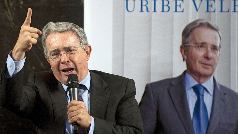 "PHOTO: Colombian former President Alvaro Uribe speaks during the presentation of his book ""There is not lost cause"" in Medellin, Colombia, on October 18, 2012. Uribe recently announced he would return to politics."