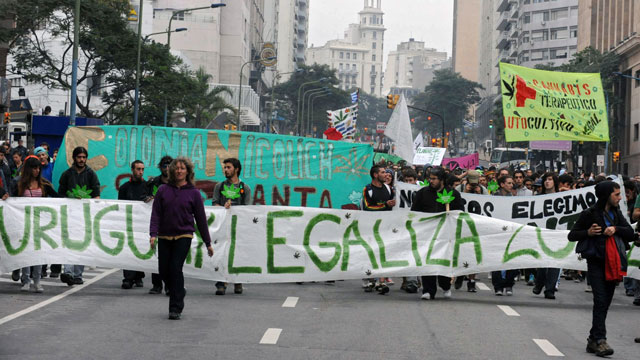 PHOTO: A march for marijuana legalization in Montevideo, Uruguay