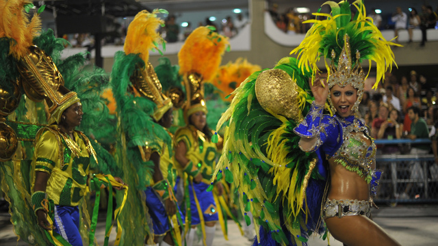 PHOTO: Revellers of Grande Rio samba school perform during the second night of carnival parade at the Sambadrome in Rio de Janeiro