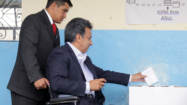 PHOTO:Ecuadorean vicepresident Lenin Moreno casts his vote during a constitutional referendum in 2011. As vicepresident Moreno has promoted a law that gets companies to set aside four percent of jobs for workers with disabilities.
