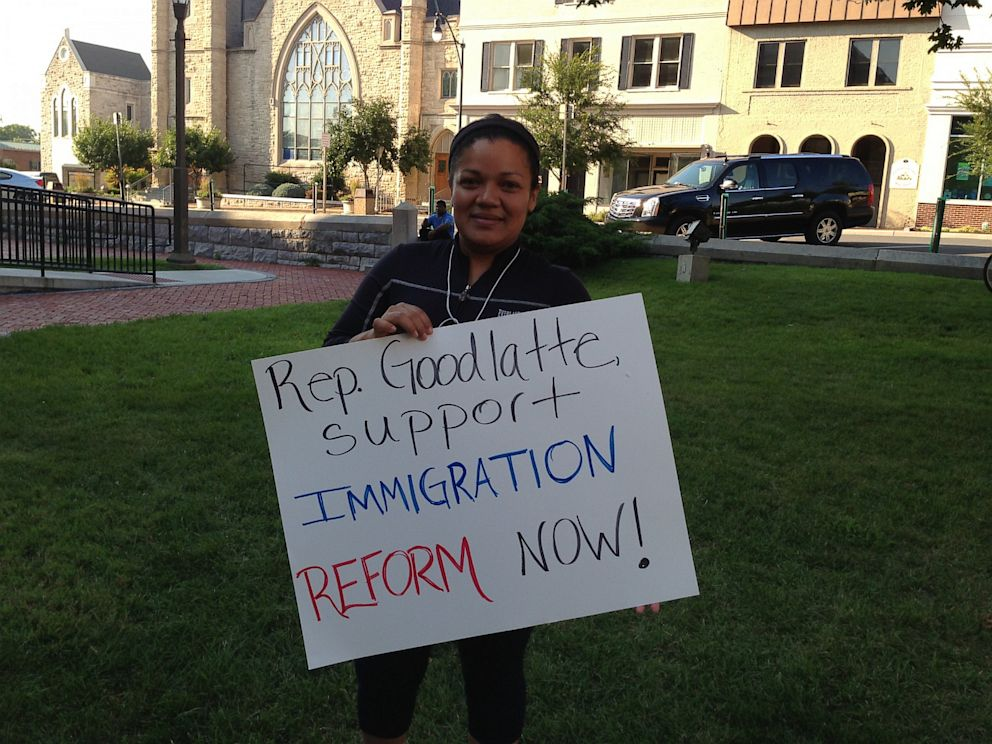 PHOTO: Delmis Aceiduno of Harrisonburg, Va. at an immigration rally in her hometown on August 26, 2013.