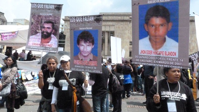PHOTO: On October 14th FARC victims gathered in Bogota's Bolivar Plaza to file hundreds of complaints against the rebel group. Human rights groups estimate that the FARC are holding more than 400 civilians in captivity, but the rebels say that they no lon