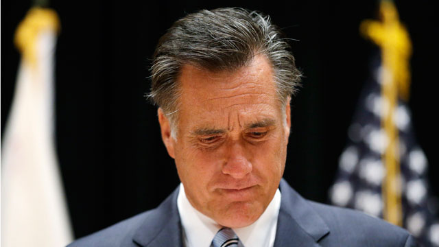 PHOTO:Gov. Mitt Romney speaks to reporters about the secretly taped video from one of his campaign fundraising events.