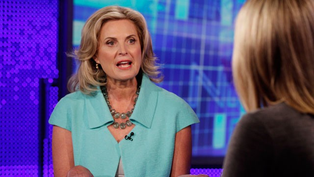 PHOTO:&nbsp;Ann Romney, wife of Republican presidential candidate, former Massachusetts Gov. Mitt Romney, tapes an interview with Martha MacCallum, co-anchor of &quot;America's Newsroom&quot; in New York, Tuesday, Oct. 9, 2012, for broadcast Wednesday morning on the Fox