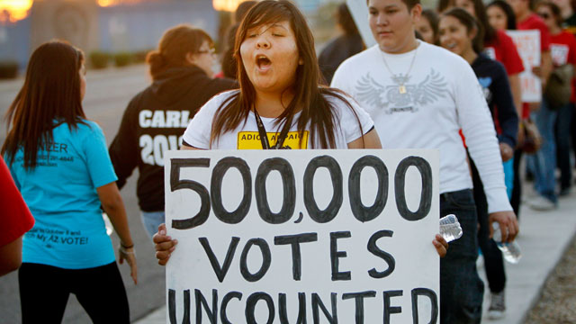 PHOTO:Brianda Lopez 15, joins Unite Here and Promise Arizona in Action to protest outside the Maricopa Ballot Tabulation Center Wednesday, Nov 7, 2012 in Phoenix.