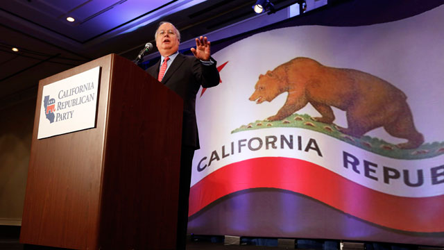PHOTO: Republican strategist Karl Rove gestures while at a luncheon at the California Republican Party convention, in Sacramento, Calif., Saturday, March 2, 2013.