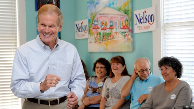PHOTO:&nbsp;Senator Bill Nelson speaks to supporters at Dharma Blue restaurant Monday in Pensacola as part of &quot;Florida First&quot; campaign tour, Monday, Oct. 22, 2012.