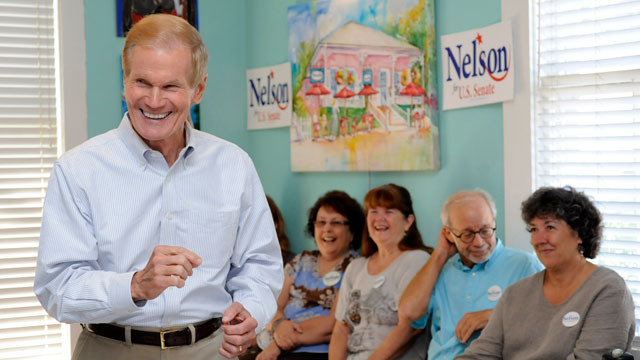 "PHOTO: Senator Bill Nelson speaks to supporters at Dharma Blue restaurant Monday in Pensacola as part of ""Florida First"" campaign tour, Monday, Oct. 22, 2012."