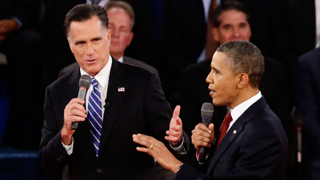 PHOTO: President Barack Obama and Republican presidential candidate and former Massachusetts Gov. Mitt Romney participate in the second presidential debate at Hofstra University in Hempstead, N.Y., Tuesday, Oct. 16, 2012.