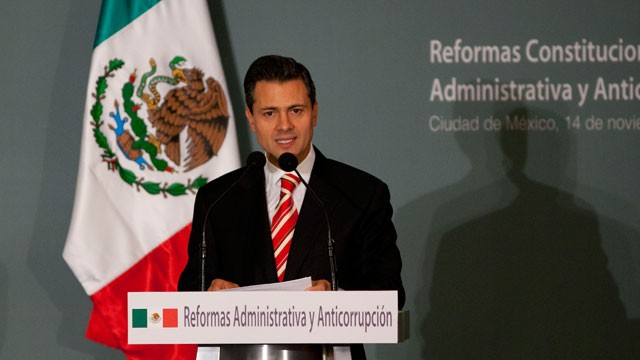 PHOTO: Mexico's President-elect Enrique Pena Nieto delivers a speech during an event in Mexico City, Wednesday, Nov. 14, 2012.