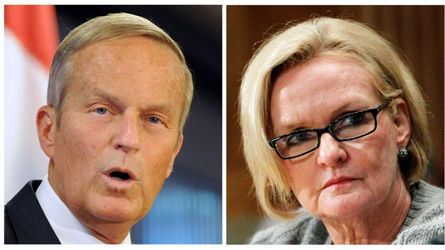 PHOTO:&nbsp;This photo combo shows U.S. Rep. Todd Akin, R-Mo., left, and Sen. Claire McCaskill, D-Mo.